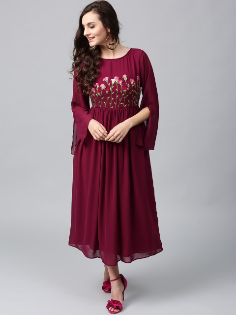 3-D embroidered wine coloured evening dress by AKS