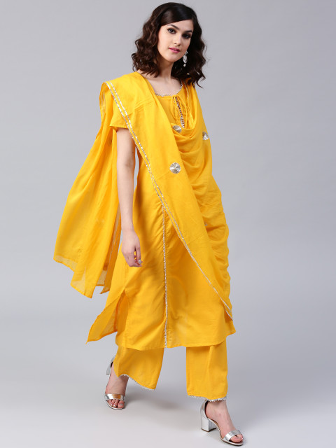 Musturd Yellow Emblished Dress by AKS